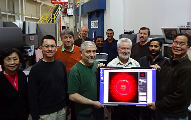 Staff displaying the first diffraction pattern with Pilatus3 6M (January, 2014). GM/CA beamlines are equipped with Dectris Eiger-16M and Pilatus3-6M detectors.                                <a href='facilities/specifications.html'>Read more...</a>